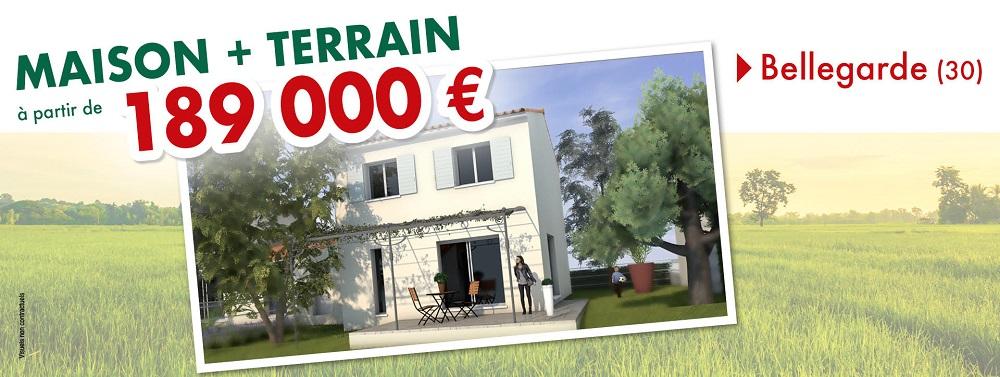 Maison + Terrain à Bellegarde - 189 000€ - Villas la Provençale